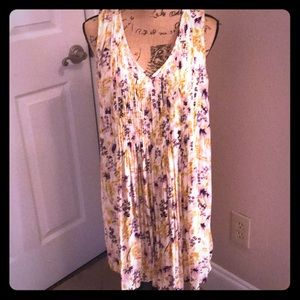 Medium gold and purple floral dress